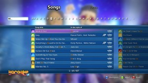 The song library interface on console