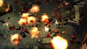 Power-ups and environmental traps set off gory explosions