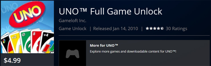 UNO on PlayStation 3 is back on sale?