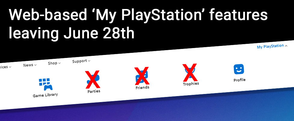 PlayStation website loses Party, Friends, and Trophy info on June 28th